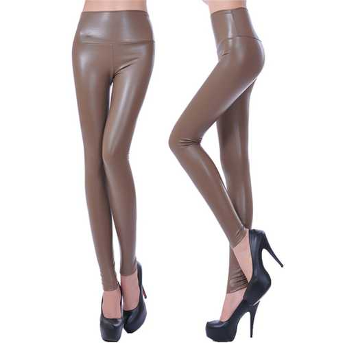 PU high waisted plus size leggings pants khaki