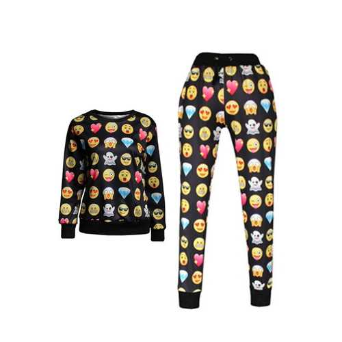 Black Long Sleeves Sweatshirt and Legging Print Noir Smiley