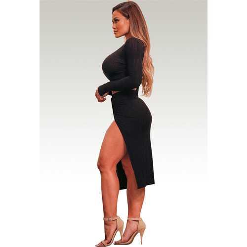 Stylish Women 2pcs Cotton High Split Bodycon Dress Black