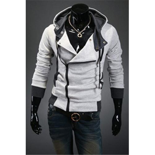 Hot sale styles Men's Autumn and winter cardigan Korean men's Hoodie Jacket Light Gray