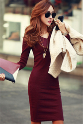 Plus size v-neck slim fit dress for women red