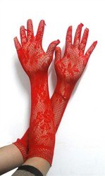 Jacquard weave gloves Red
