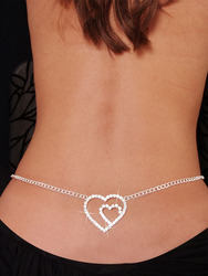 Double Heart Rhinestone Waist chain