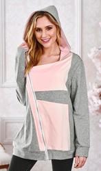 2018 fashion patchwork zipper hoodie