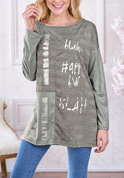 Women Personalized O-neck  Patchwork with Letter print T-shirt Tops