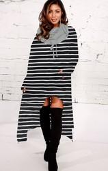 2018 fashion high-low stripe hoodie dress