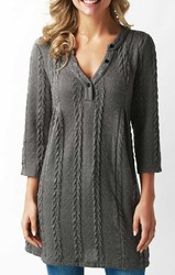 Dark Gray Cable Knit Button Neck Sweater