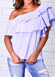 New retro stripe stitching One  Shoulder top