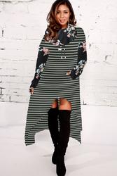 2018 Fashion Striped Floral Print High-low Hoodie Dresses Black