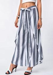 Women Stripe Print Asymmetrical Loose Divided Skirt