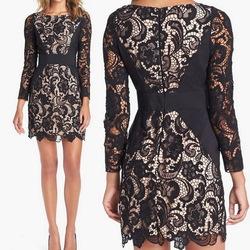 Long Sleeve Crochet Lace Panel Bodycon Pencil Dress
