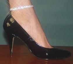 Double Row Rhinestone Elasticity Ankle Bracelet