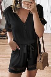 Belted Black Half Sleeves V Neck Jumpsuit