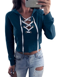 Casual V-neck Lace Up Hoodie