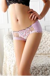 Wholesale Sexy Women Floral Print Panties Light Purple