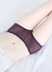 Women's Low Rise See Through Sheer Mesh Transparent Hipster Pants Purple