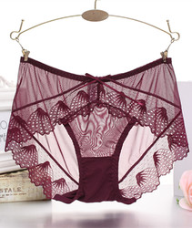 Women Sexy Panties Lace G-String T Pants Wine Red