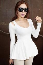 White Summer Fashion Cute Long-sleeve Cotton T-Shirt