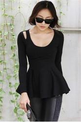 Black Summer Fashion Cute Long-sleeve Cotton T-Shirt