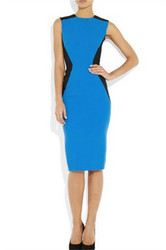 Blue and Black Patchwork O Neck Sleeveless with Zipper