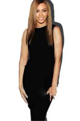 Black O Neck Sleeveless Midi Dress with Zipper Behind