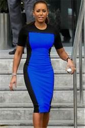 Blue and Black Splicing Short-Sleeve Midi Dress