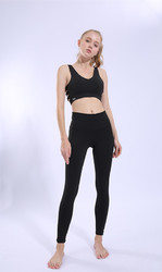 Black Running Sports Fitness Pants Tight Stretch High Waist Breathable Yoga Pants