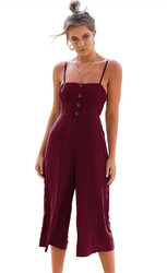 Thin Shoulder Straps And Cropprd Trouser Jumpauit With Button Decorated At Front Wine Red
