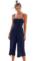 Thin Shoulder Straps And Cropprd Trouser Jumpauit With Button Decorated At Front Royal Blue
