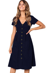 Women V-neck with Button Pocket Summer Short-sleeved Midi Dress Dark Blue