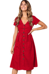 Women V-neck with Button Pocket Summer Short-sleeved Midi Dress Red