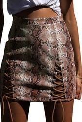Women Snake Print PU Leather Bandage Mini Hip Skirt Brown