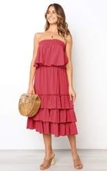Women Red Sleeveless 2pcs Sweetheart Layered Dress