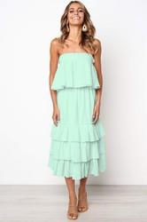 Women Light Green Sleeveless 2pcs Sweetheart Layered Dress