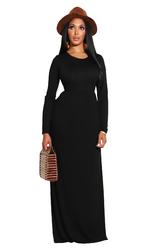 Black Long Sleeve O-Neck Casual Maxi Dress