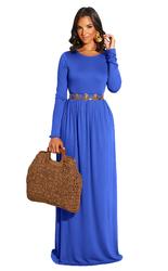 Blue Long Sleeve O-Neck Casual Maxi Dress( Not including the waistband)