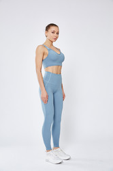 Light Blue Women Mesh Splicing Sport Yoga Pants with Pocket High-waist Leggings