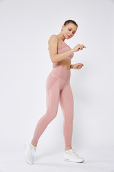 Light Pink Women Mesh Splicing Sport Yoga Pants  with Pocket  High-waist Leggings