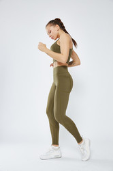 Green Stitching Pocket Yoga Pants Double-Sided Nylon High-Elastic Tight-Fitting Hants igh-Waist Fitness Women Pants