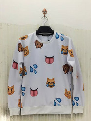 Men's Pullover Winter QQ Expressions Pattern Hoody White