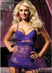 Victorian Sexy Lace Babydoll Purple