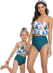 Floral Printed Top and Solid Bottom High Waist swimwear Set Dark Green