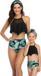Black Solid Top and Floral Printed Bottom High Waist Swimwear Set