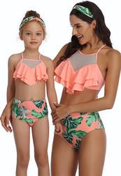 Orange Floral Printed Bottom and Ruffled Top High Waist Swimwear Set