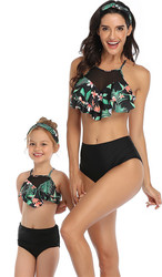 Floral Printed Ruffles Top and Black Solid Bottom High Waist Swimwear Set