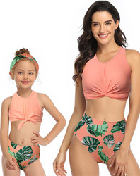 Orange Front Knot Vest Floral Printed Bottom Two Piece Swimsuit