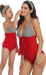 Top Striped Red Bottom Tassel Printed One Piece Swimsuit