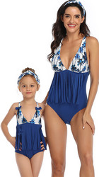 Top Floral Blue Bottom Tassel Printed One Piece Swimsuit