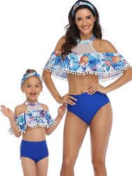 Blue Floral Printed Flounce Tassel Top Solid Bottom High waist swimwear
