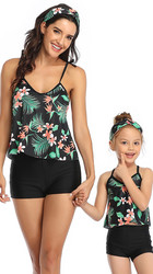 Black Floral Printed Top and Solid Bottom Two Piece Swimsuit